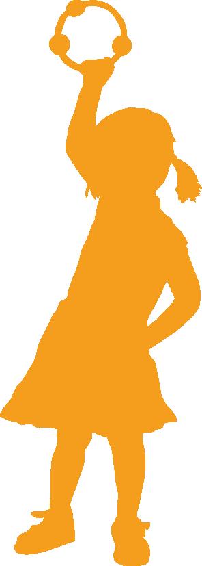 Shilouette eines Mädchens mit einem Schellenkranz