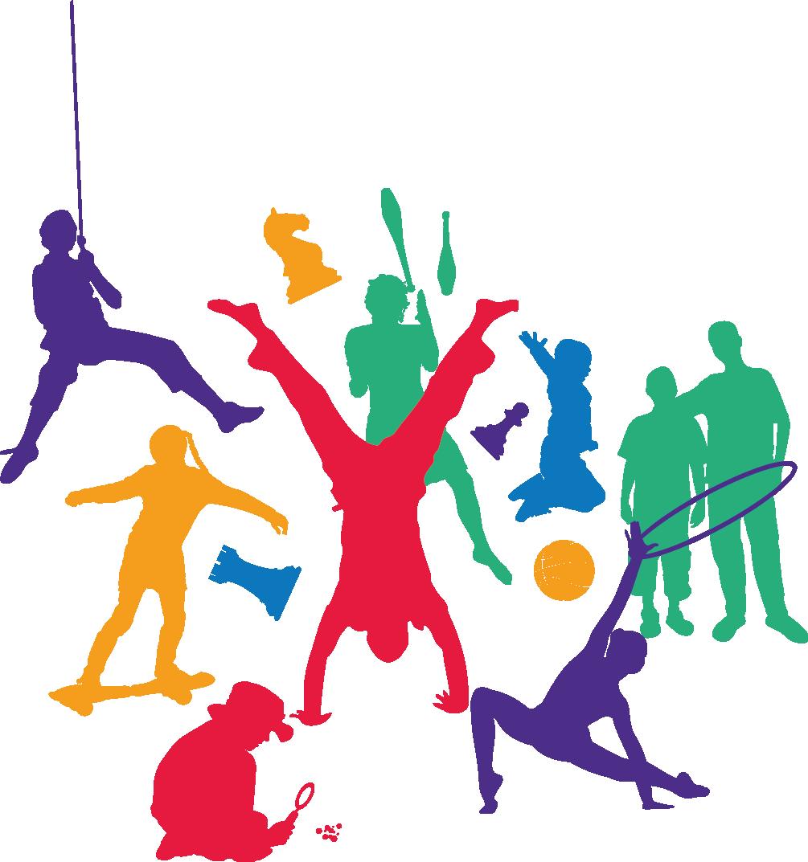 Menschliche Figuren die Aktivitäten einer Zirkusaufführung darstellen
